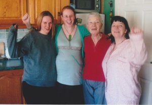 My Birth Team (minus David). From left to right: Gwen, Me!, my Mammy and Tracey